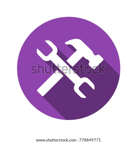 Wrench and hammer vector flat icon.