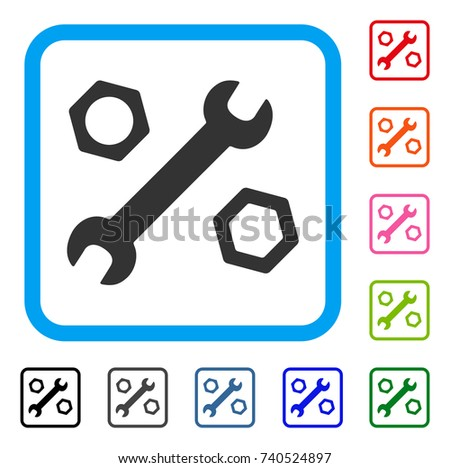 Wrench And Nuts icon. Flat gray pictogram symbol inside a light blue rounded frame. Black, gray, green, blue, red, orange color variants of Wrench And Nuts vector.