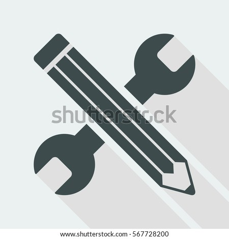 Wrench and pen - Design project - Vector web flat icon