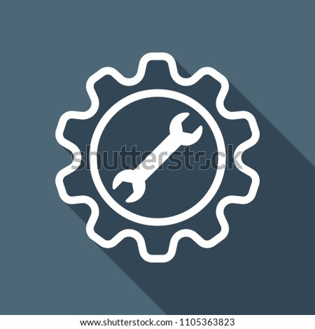 wrench in gear. White flat icon with long shadow on background
