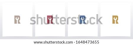 Wrench On Letter Logo Design R Photo stock ©