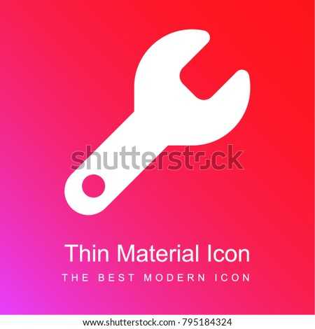 Wrench red and pink gradient material white icon minimal design