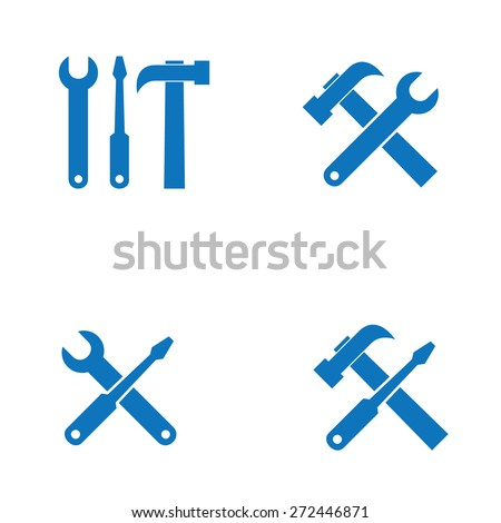 Wrench, screwdriver and hammer. Tools icon isolated on white background