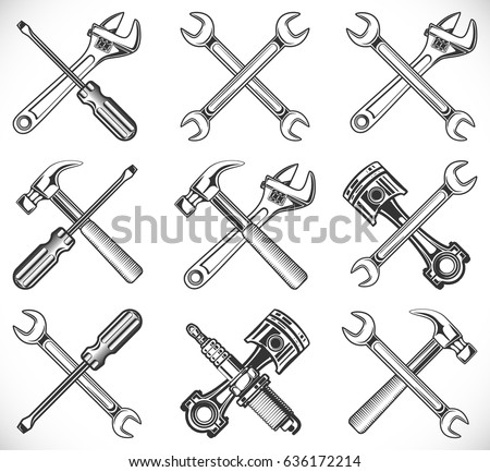 Wrench, screwdriver, hammer, piston and spark plug. Repair tools icon isolated on white background, vector illustration