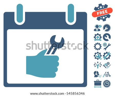 Wrench Service Hand Calendar Day pictograph with bonus tools icon set. Vector illustration style is flat iconic symbols, cyan and blue, white background.