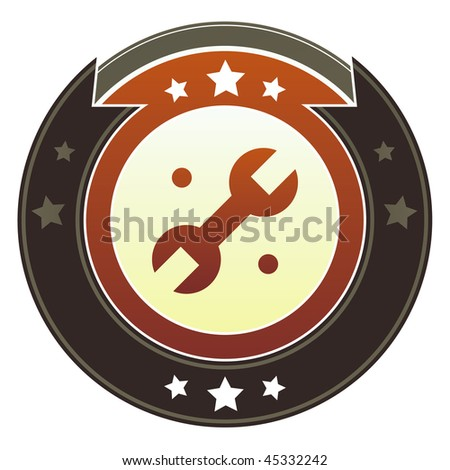 Wrench, settings, or repair icon on round red and brown imperial vector button with star accents