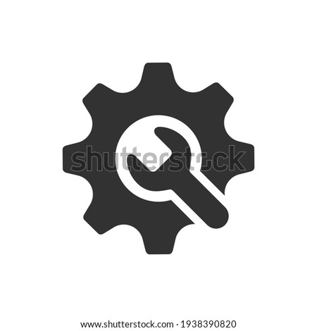 wrench with gear icon, Service tool symbol, setting sign, isolated on white background, vector illustration