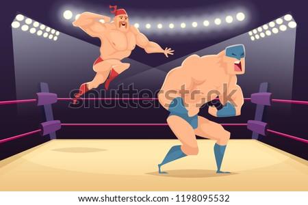 wrestler fighters cartoon