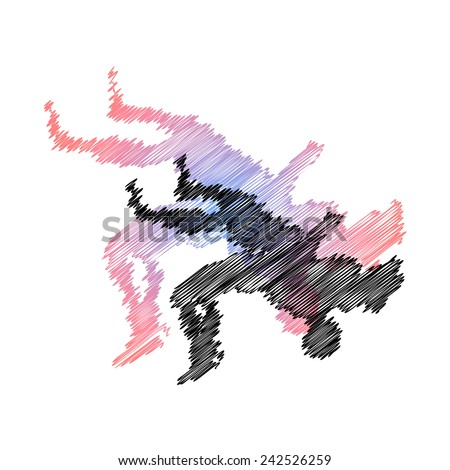 Wrestling abstract throw. Vector pic.