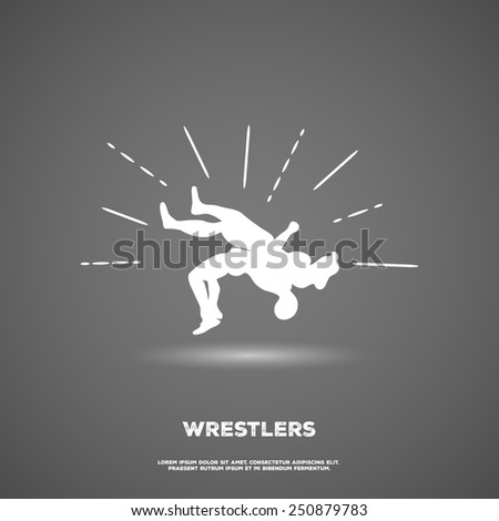 Wrestling throw logotype, white version. Design template. Sport theme
