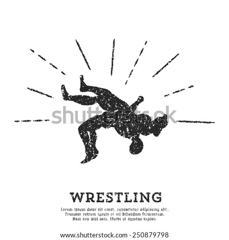 Wrestling throw vintage logotype. Design template. Sport theme