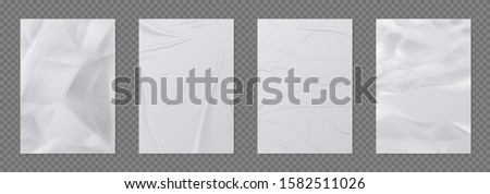 Wrinkled paper. Crumpled sheet of paper, empty realistic mockup for posters and banners. Vector 3D paper texture A4 pages, glued wet poster on wall
