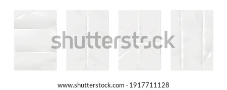 Wrinkled paper. Realistic white empty poster mockups with crumpled texture effect and creases. Isolated straightened square sheets for documents. Vector blank notepad folded pages set with copy space