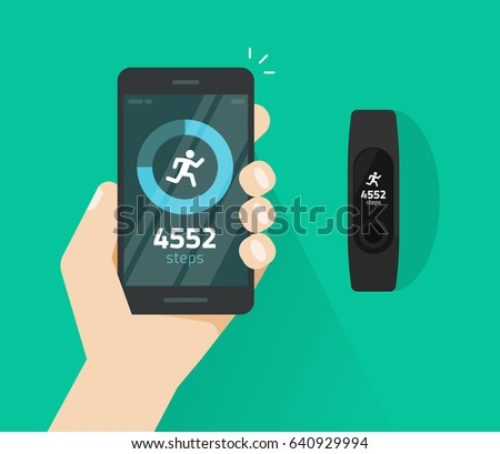 Wrist band bracelet with run activity and fitness tracking app on mobile phone screen vector flat cartoon style, smartphone with run tracker and wristband, walk steps counter sport tech on cellphone