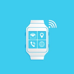 Wrist Watch Phone, flat icon isolated on a blue background for your design, vector illustration