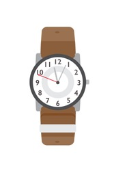 Wristwatch flat vector illustration. Modern accessory, stylish item. Classical wristlet watch color design element. Time counter, contemporary wrist clock isolated on white background.