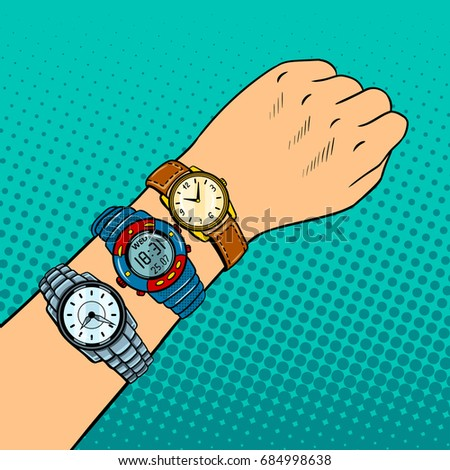 wristwatch on hand pop art