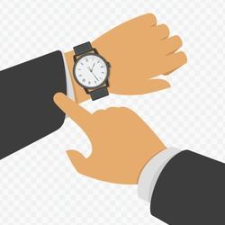 Wristwatch on the hand of businessman in black suit. Vector illustration of time on wrist watch. Man with classic clock checks the time. Hand with modern clock isolated on transparent background.