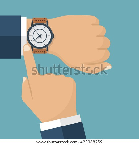 wristwatch on the hand of