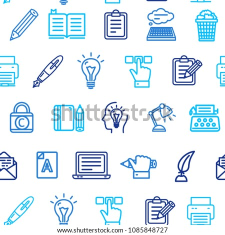 Writer and Copywriting Signs Seamless Pattern Background on a White for Web and App Element of Blogging and Rewriting. Vector illustration #1085848727