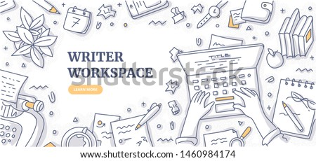Writer editor journalist or copywriter workspace. Hands of man who types text on laptop. Creative desktop top view. Typewriter, papers, diary, coffee mug, crumpled paper. Flat lay doodle illustration