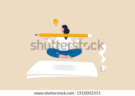 Writer inspiration, blogger, copywriter or journalist creativity concept, young woman writer meditate on blank paper and holding big pencil thinking about idea to write in her blog or journal. Photo stock ©