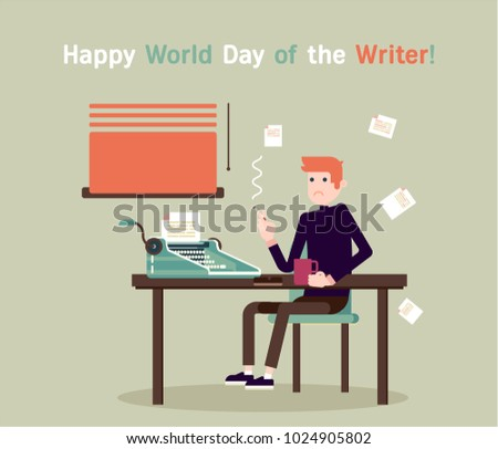 Writer is seating by the table and writing a new story. Retro vintage style. Indoor illustration. Vector flat design. Flat character - writer. Happy writer day concept.