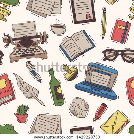 Writer office vector writing business on typewriter and copywriter writes book on paper in notebook illustration copywriting background