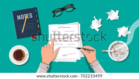 Writer or journalist workplace. Hands of author with pen working on document. Paper draft sheets with text, pencil. Ashtray, cigarette, coffee cup. Eyeglasses. Vector illustration in flat style