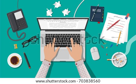 writer or journalist workplace. ...