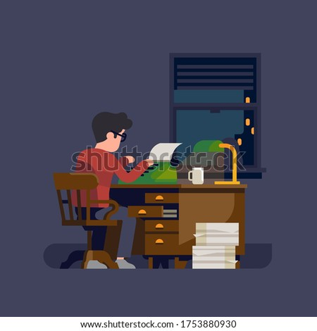 Writer or novelist at work. Flat vector illustration on man at his desk working on a typewriter writing a book or a novel Foto d'archivio ©