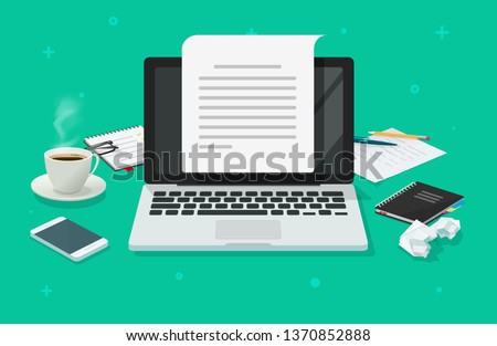 Writer workplace and computer paper sheet vector, flat cartoon 3d copywriter table creating electronic text file or book top view, writing letter or journal via laptop, journalism story, learning idea