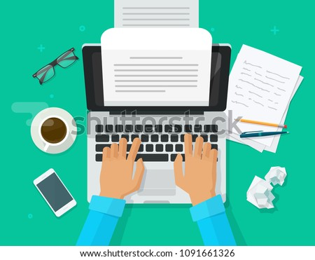 Writer writing on computer paper sheet vector, flat cartoon person editor write electronic book text top view, laptop with writing letter or journal story, journalist author working, education idea
