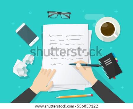 writer writing on paper sheet...