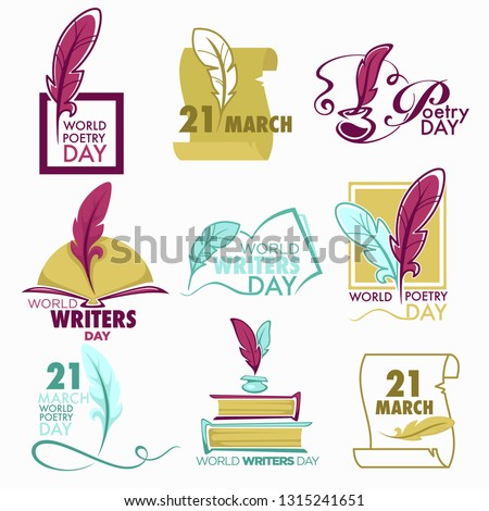 Writers and poetry day isolated icon feather and book vector bookstore or library emblems and logo literature holiday celebration writing and lettering fiction and manuscripts textbooks volumes