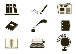 writing and news simple icon set