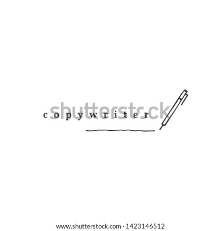 Writing, copywrite and publishing theme. Vector hand drawn logo template, a pen. For business identity and branding, for writers, copywriters and publishers, bloggers.