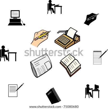 writing editorial and literature illustrations and symbols set