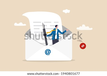Writing email like professional, email communication for best business negotiation, storytelling or apply for new job concept, smart businessman in opening email envelope holding fountain pen.