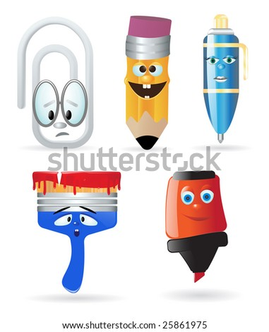Writing instruments and office supply. Cartoon character