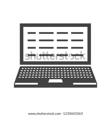 Writing laptop Glyph black icon