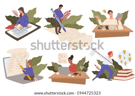Writing letter on paper and composing texts or articles. Copywriting and creative work. People with laptops and gadgets, using pens to express ideas and copy with paperwork. Vector in flat style Foto stock ©