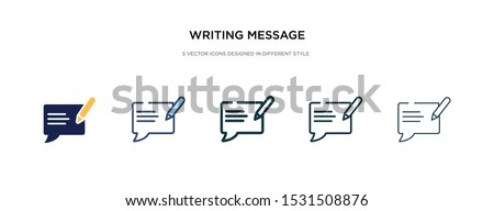 writing message icon in different style vector illustration. two colored and black writing message vector icons designed in filled, outline, line and stroke style can be used for web, mobile, ui