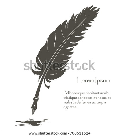 writing old feather with flying ink stain