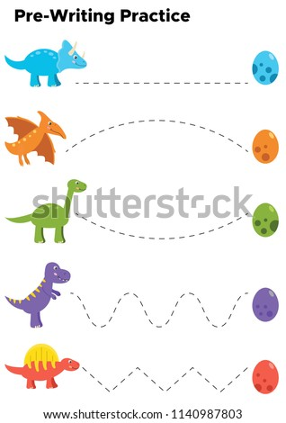 Writing practice for preschool kids. Trace line worksheet with cute cartoon dinosaurs and eggs. Vector illustration