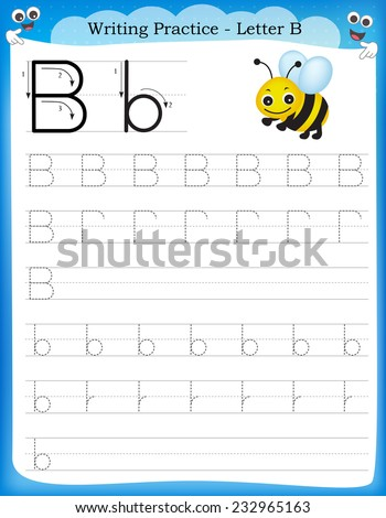 writing practice letter b printable worksheet for preschool kindergarten kids to improve basic. Black Bedroom Furniture Sets. Home Design Ideas