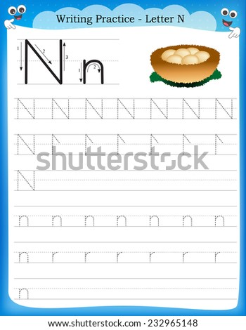 Writing Practice Letter N Printable Worksheet With Clip Art For ...
