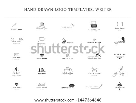 Writing, publishing and copywrite theme. Set of hand drawn vector logo templates. For business identity and branding, for writers, copywriters and publishers, for journalist, poets and bloggers.