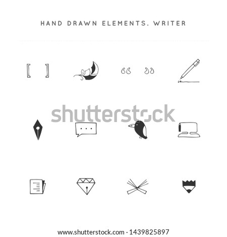 Writing, publishing and copywrite theme. Set of vector hand drawn icons. For business identity and branding, for writers, copywriters and publishers, for poets, journalist and bloggers.