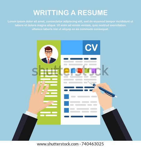 Writing resume. CV application in business man hand. Selecting, searching professional staff. Analyzing resumes of workers. Recruitment, concept of human resources management. Vector flat illustration